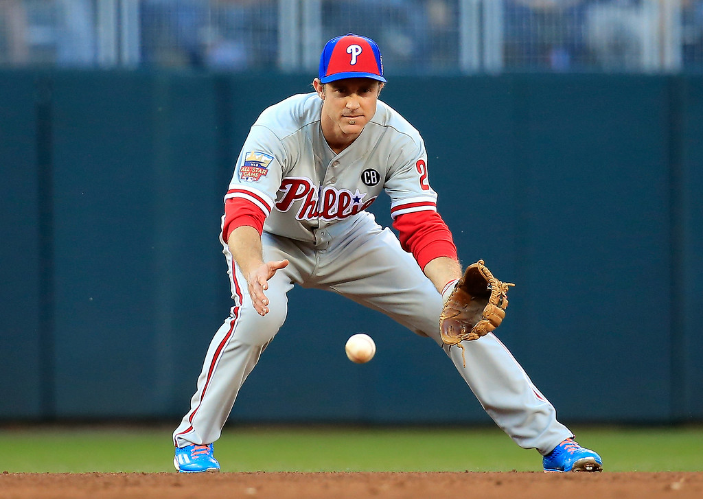 . National League All-Star Chase Utley #26 of the Philadelphia Phillies warms up against the American League All-Stars during the 85th MLB All-Star Game at Target Field on July 15, 2014 in Minneapolis, Minnesota.  (Photo by Rob Carr/Getty Images)