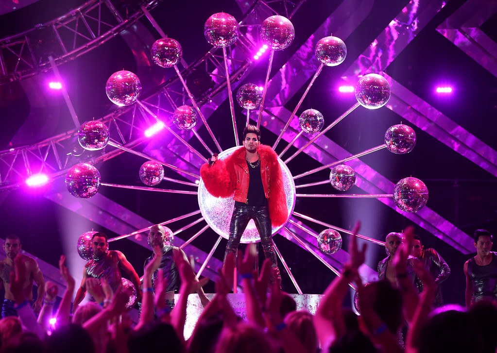 ". LOS ANGELES, CA - DECEMBER 16:  Singer Adam Lambert performs onstage during ""VH1 Divas\"" 2012 at The Shrine Auditorium on December 16, 2012 in Los Angeles, California.  (Photo by Christopher Polk/Getty Images)"