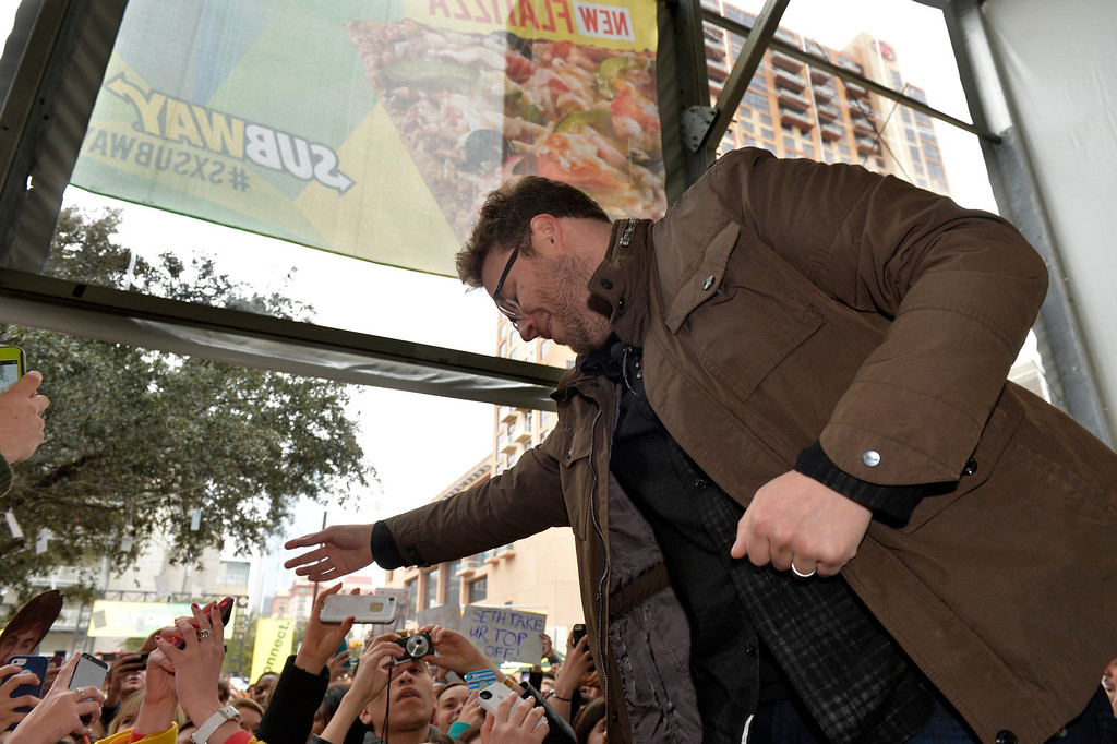 . Seth Rogen from ìNeighborsî interacts with fans during a Tumblr Q&A event sponsored by SUBWAY Restaurants at SXSUBWAY square in Austin, Texas�on Sunday, March 9, 2014.� (Photo by Jack Dempsey/Invision for SUBWAY Restaurants/AP Images)