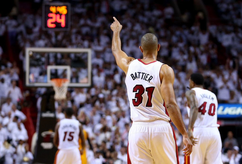 . MIAMI, FL - MAY 30: Shane Battier #31 of the Miami Heat celebrates against the Indiana Pacers during Game Six of the Eastern Conference Finals of the 2014 NBA Playoffs at American Airlines Arena on May 30, 2014 in Miami, Florida.  (Photo by Mike Ehrmann/Getty Images)