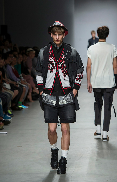 . Models wear creations by Japanese fashion designer Miharayasuhiro as part of his men�s Spring-Summer 2015 collection, presented in Paris, Saturday, June 28, 2014. (AP Photo/Zacharie Scheurer)