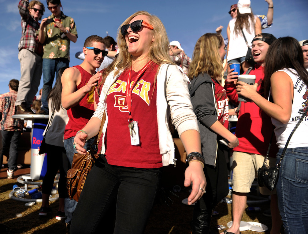 . DENVER, CO. - MARCH 2: University of Denver freshman Hanna Pedego partied outside Magness Arena before the game. The University of Denver men\'s basketball team defeated New Mexico State 66-60 Saturday evening, March 2, 2013. (Photo By Karl Gehring/The Denver Post)
