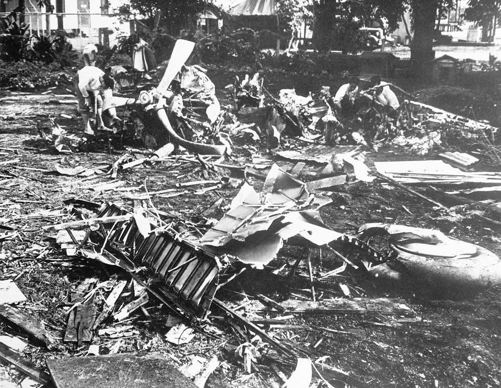 . In this image provided by the U.S. Army, the wreckage of a Japanese bombing plane shot down near a CCC camp, Hawaii during the raid on Dec. 7, 1941. (AP Photo/U.S. Army)