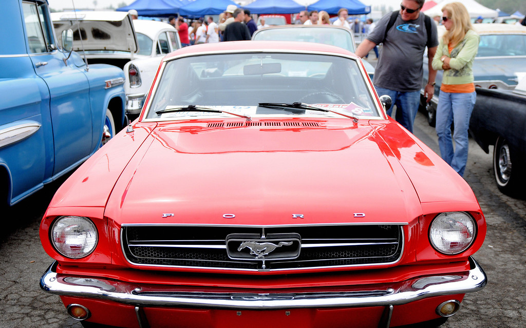 . A Ford Mustang is on display at Pomona\'s antique automobile market on August 16, 2009. Once a month, collectors and enthusiasts can sell and buy cars or car parts in Pomona, California.  GABRIEL BOUYS/AFP/Getty Images
