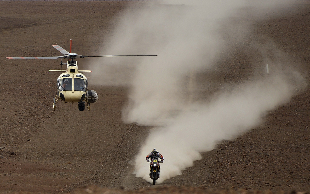 . Spain\'s Marc Coma, on KTM, competes in the 2014 Dakar Rally Stage 12 between El Salvador and La Serena in Chile, on January 17, 2014. FRANCK FIFE/AFP/Getty Images