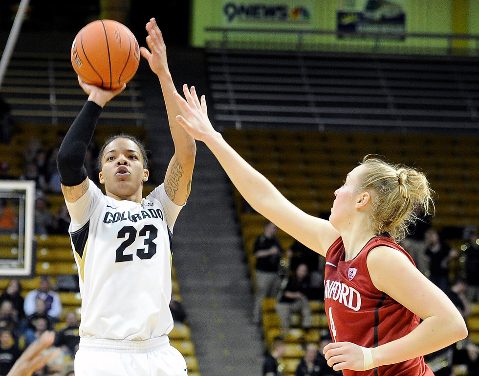 . University of Colorado\'s Chucky Jeffery takes a shot over Taylor Greenfield during a game against Stanford on Friday, Jan. 4, at the Coors Event Center on the CU campus in Boulder.    Jeremy Papasso/Camera