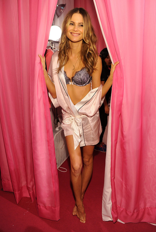 . Model Behati Prinsloo prepares at the 2013 Victoria\'s Secret Fashion Show hair and make-up room at Lexington Avenue Armory on November 13, 2013 in New York City.  (Photo by Dimitrios Kambouris/Getty Images for Victoria\'s Secret)