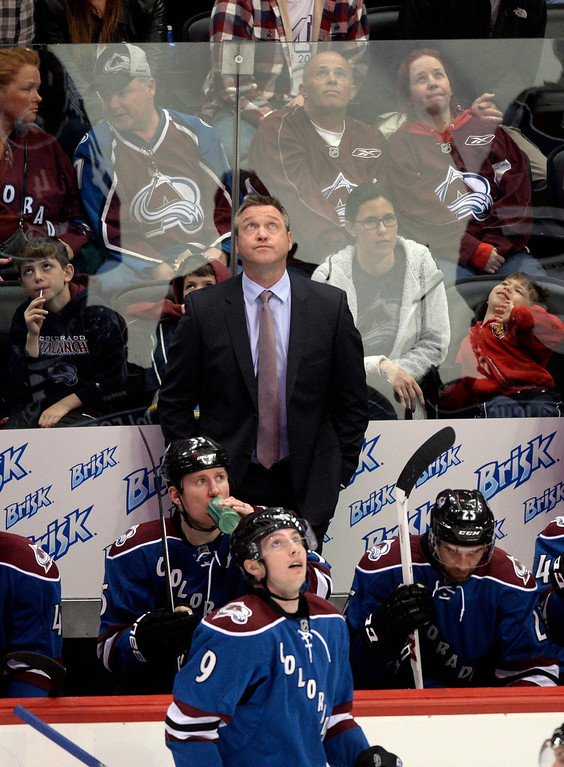 . DENVER, CO - MARCH 27: Matt Duchene and coach Patrick Roy both looked up to the scoreboard for a replay in the second period. The Colorado Avalanche hosted the Vancouver Canucks Thursday night, March 27, 2014 at the Pepsi Center in Denver, Colorado. (Photo by Karl Gehring/The Denver Post)