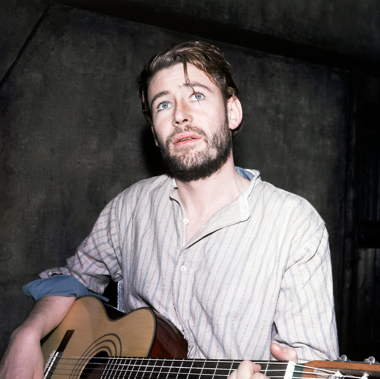 . Actor Peter O\'Toole plays the guitar during a photo call on February 5, 1963 at the Phoenix Theater in London.  O\'Toole, the charismatic actor who achieved instant stardom as Lawrence of Arabia and was nominated eight times for an Academy Award, has died. He was 81. O\'Toole\'s agent Steve Kenis says the actor died Saturday, Dec. 14, 2013 at a hospital following a long illness. (AP Photo)