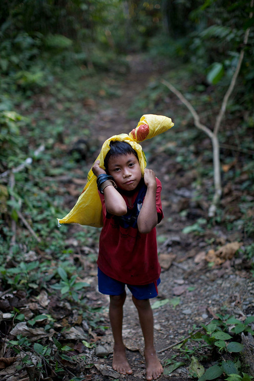 . In this Sept. 30, 2013 photo, an Ashaninka Indian boy pauses to pose for a photo as he returns on foot to his home after shopping in the nearby village Kimkibiri Baja, Pichari district, Peru. Kimkibiri Baja, one of 350 Ashaninka communities, lies in the Apurimac river valley, the No. 1 coca-producing valley in the world, sharing the world\'s top coca-growing valley with drug traffickers, rebels, illegal loggers and, now, an increased military presence. (AP Photo/Rodrigo Abd)
