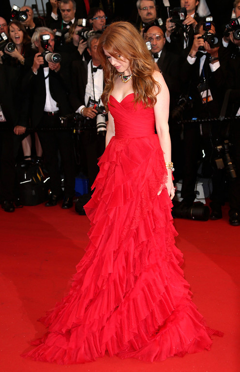 . Actress Isla Fisher arrives for the opening ceremony and the screening of The Great Gatsby at the 66th international film festival, in Cannes, southern France, Wednesday, May 15, 2013. (Photo by Joel Ryan/Invision/AP)