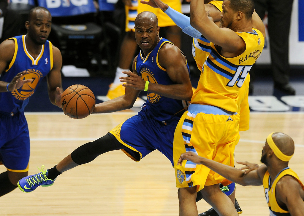 . DENVER, CO. - APRIL 23: Golden State guard Jarret Jack passes out of the lane in the third quarter against the Denver Nuggets. The Nuggets took on the Golden State Warriors in Game 2 of the Western Conference First Round Series at the Pepsi Center in Denver, Colo. on April 23, 2013. (Photo by Steve Nehf/The Denver Post)