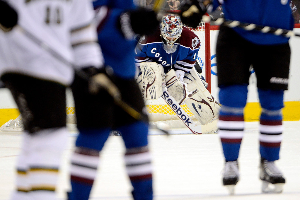 . DENVER, CO. - FEBRUARY 4: Semyon Varlamov (1) of the Colorado Avalanche looks down at the ice after giving up a goal to Jamie Benn (14) of the Dallas Stars during the first period of action. Colorado Avalanche versus the Dallas Stars at the Pepsi Center on February 4, 2012. (Photo By AAron Ontiveroz/The Denver Post)