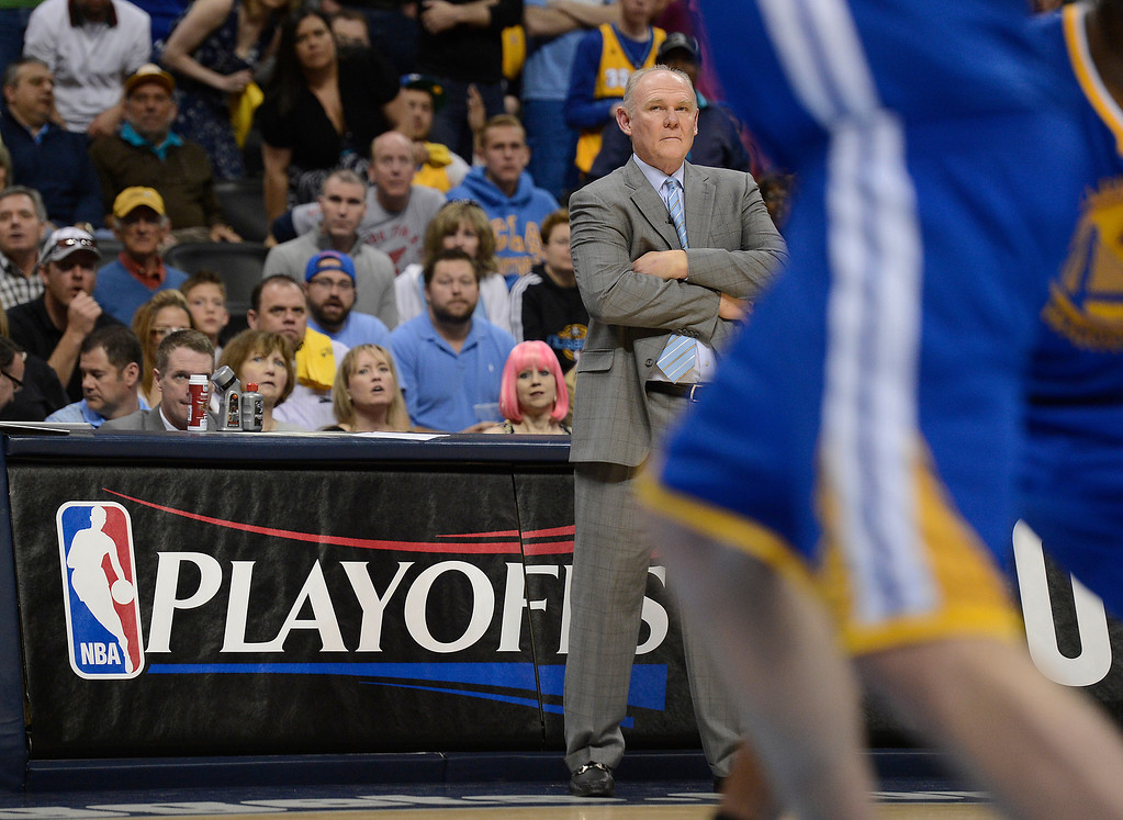 . DENVER, CO. - APRIL 20: Denver Nuggets head coach George Karl watches the action from the sidelines in the second quarter. The Denver Nuggets took on the Golden State Warriors in Game 1 of the Western Conference First Round Series at the Pepsi Center in Denver, Colo. on April 20, 2013. (Photo by John Leyba/The Denver Post)
