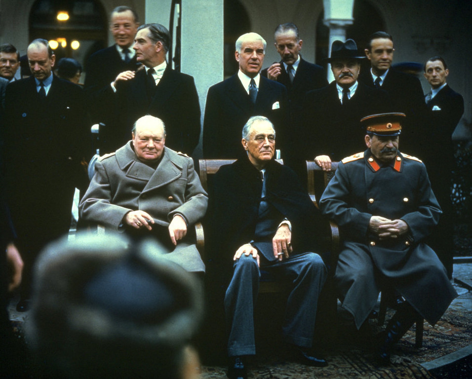 . Winston Churchill, Franklin Delano Roosevelt and Joseph Stalin at the Yalta Conference in February of 1945.   (Photo by Hulton Archive/Getty Images)