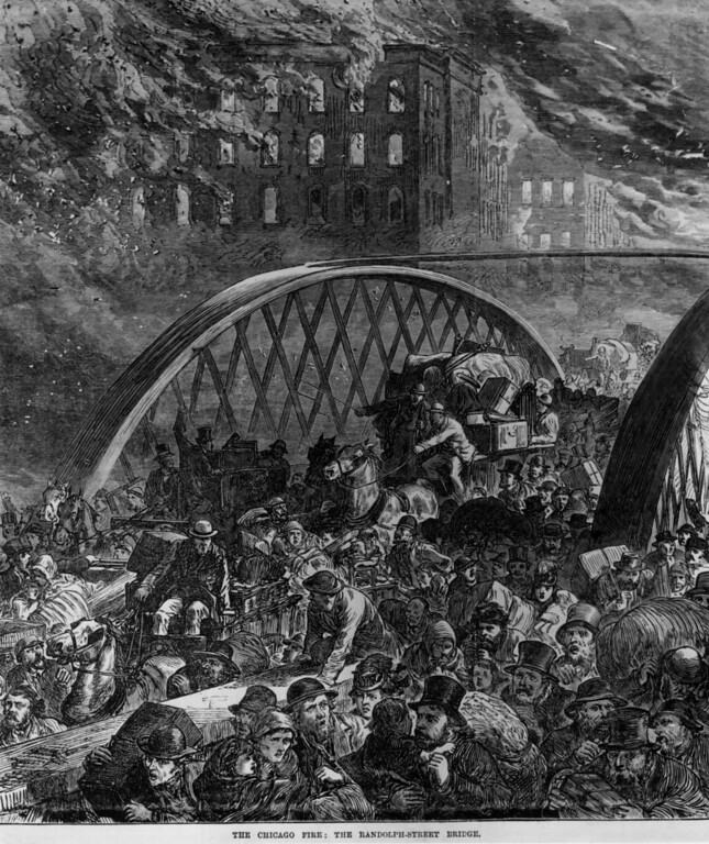 . 9th October 1871:  Crowds rushing across the Randolph-Street Bridge in a panic during the Chicago fire.  (Photo by HultonArchive/Illustrated London News/Getty Images)