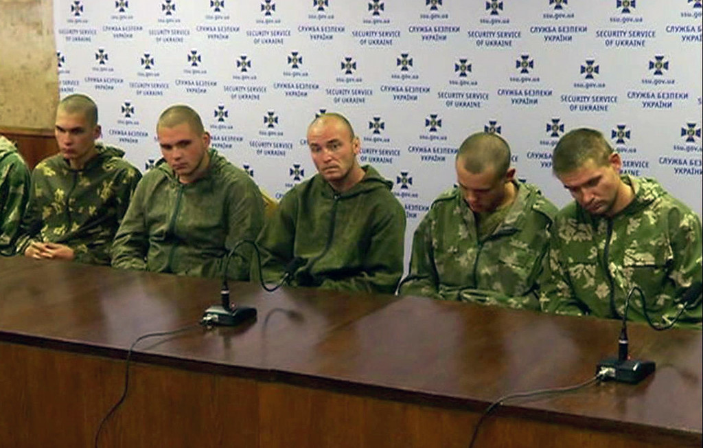 . Captured Russian paratroopers are seen in this image taken from video in Kiev on Wednesday Aug. 27. 2014. Ten Russian paratroopers were captured this week in Ukraine, adding to a growing body of evidence that Russia, despite its denials, is sending regular troops and weapons to support the separatists in their increasingly deadly fight against Ukrainian forces. (AP Photo/Channel 5)
