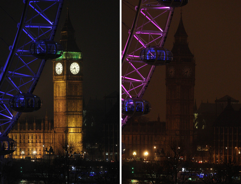 . A two photo combination showing the Elizabeth Tower, which houses Big Ben at the Houses of Parliament in London, illuminated, left, and then in darkness as the lights were turned off to mark Earth Hour 2013, Saturday March 23, 2013. Earth Hour was marked worldwide at 8.30 p.m. local time and is a global call to turn off lights for 60 minutes in a bid to highlight the global climate change. (AP Photo/PA, Lewis Whyld)