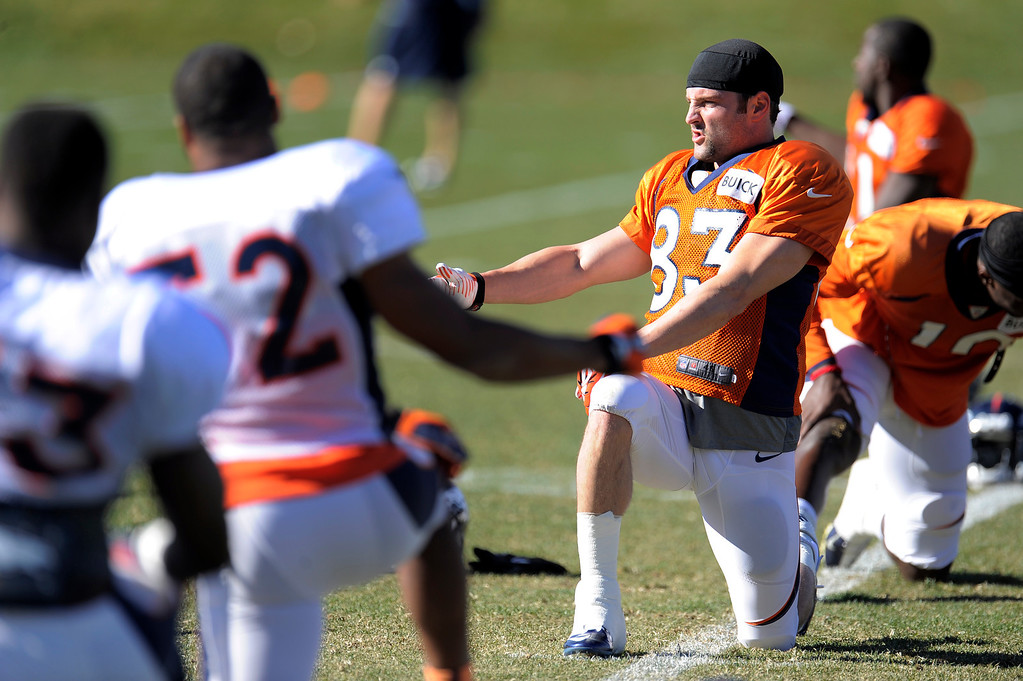 . Denver Broncos wide receiver Wes Welker (83) stretches before practice November 13, 2013 at Dove Valley (Photo by John Leyba/The Denver Post)