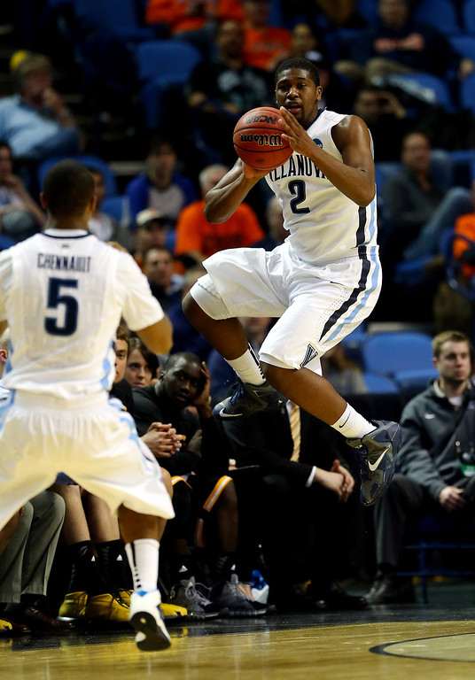 . BUFFALO, NY - MARCH 20: Kris Jenkins #2 of the Villanova Wildcats looks to pass against the Milwaukee Panthers during the second round of the 2014 NCAA Men\'s Basketball Tournament at the First Niagara Center on March 20, 2014 in Buffalo, New York.  (Photo by Elsa/Getty Images)