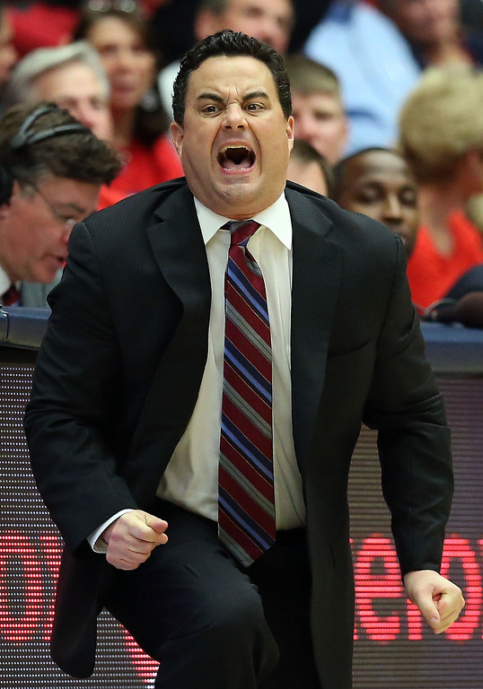 . Head coach Sean Miller of the Arizona Wildcats reacts during the second half of the college basketball game against the Colorado Buffaloes at McKale Center on January 23, 2014 in Tucson, Arizona. The Wildcats defeated the Buffaloes 69-57.  (Photo by Christian Petersen/Getty Images)