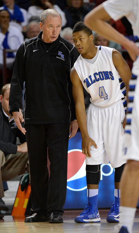 . DENVER, CO. - FEBRUARY 09: Highlands Ranch coach Bob Caton talks with Jalen Kittrell (4) of Highlands Ranch February 9, 2012 at Magness Arena.  East defeated Highlands Ranch 73 - 54. (Photo By John Leyba/The Denver Post)