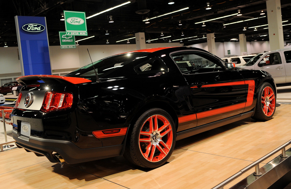 . The new 2010 Ford Mustang on display at the Orange County Auto Show in Anaheim on October 7, 2010.  The car has a Supercharged 550-HP Shelby GT500 V8 engine and is available as a coupe, convertible or glass roofed models.         MARK RALSTON/AFP/Getty Images
