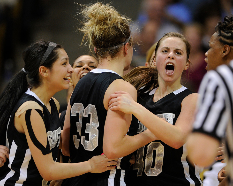 . BOULDER, CO. - MARCH 14:  Colts junior guard Kendra Jesik (40) let out a yell in overtime. The Pueblo South High School girl\'s basketball team defeated Broomfield 53-50 in overtime in a 4A playoff game staged at the University of Colorado Events Center Thursday night, March 14, 2013.  (Photo By Karl Gehring/The Denver Post)