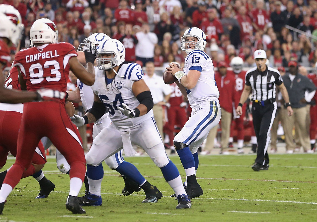 . Quarterback Andrew Luck #12 of the Indianapolis Colts drops back to pass during the NFL game against the Arizona Cardinals at the University of Phoenix Stadium on November 24, 2013 in Glendale, Arizona.  (Photo by Christian Petersen/Getty Images)