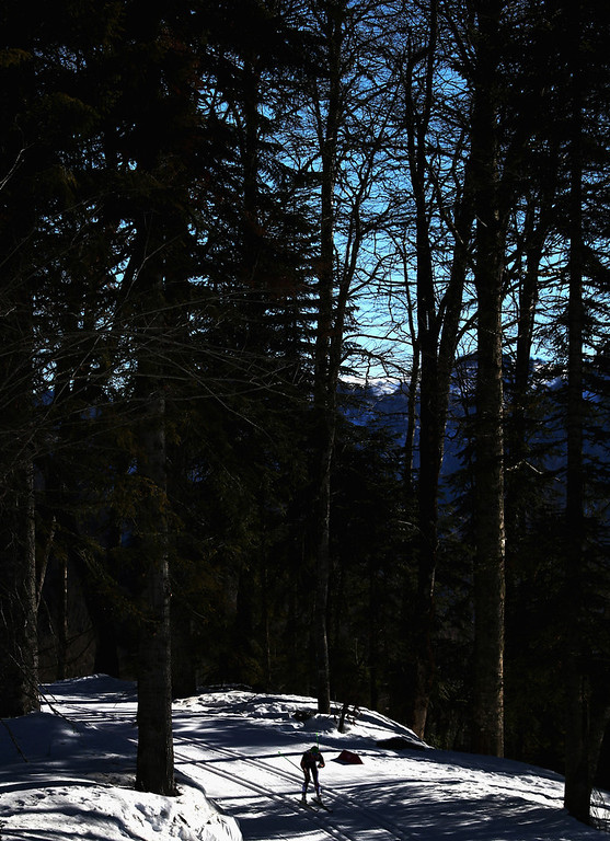 . A general view during the Ladies\' 10km Classic Cross-Country during day six of the Sochi 2014 Winter Olympics at Laura Cross-country Ski & Biathlon Center on February 13, 2014 in Sochi, Russia.  (Photo by Ryan Pierse/Getty Images)