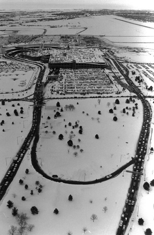 . Aerial view of the airport after the Blizzard of \'82. Denver Post Library Archive