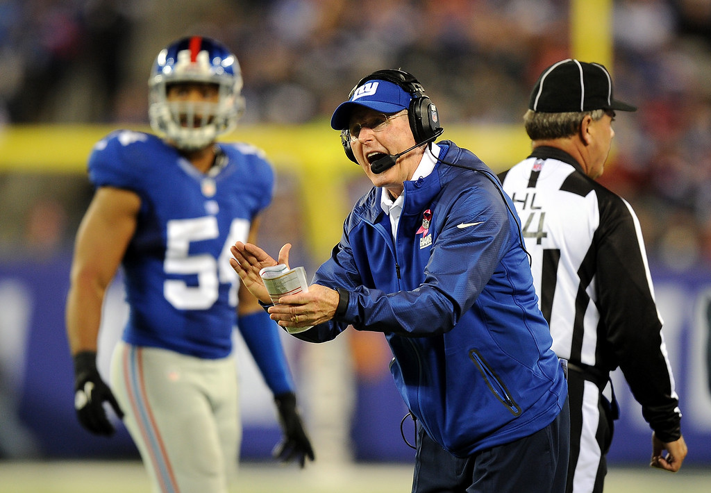 . Head coach Tom Coughlin of the New York Giants  reacts against the Minnesota Vikings during a game at MetLife Stadium on October 21, 2013 in East Rutherford, New Jersey.  (Photo by Maddie Meyer/Getty Images)