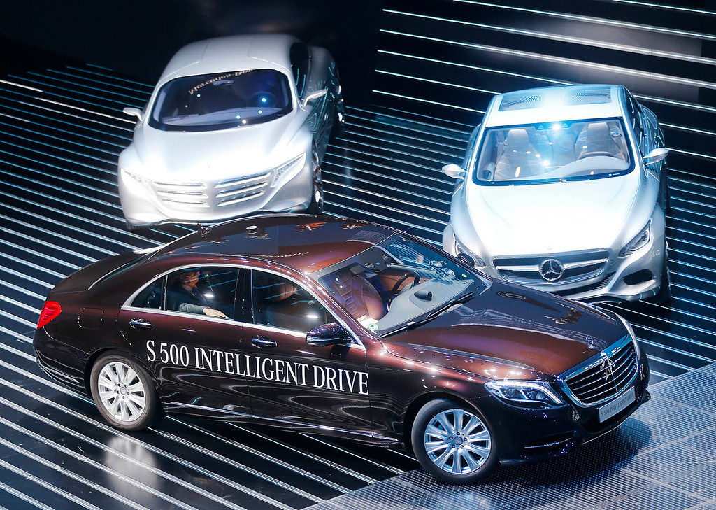. The new Mercdes S 500 intelligent drive is presented during the Mercedes-Benz Media Night at the 65th Frankfurt Auto Show in Frankfurt, Germany, Monday, Sept. 9, 2013. More than 1,000 exhibitors will show their products to the public from Sept. 12 through Sept.22, 2013. (AP Photo/Michael Probst)