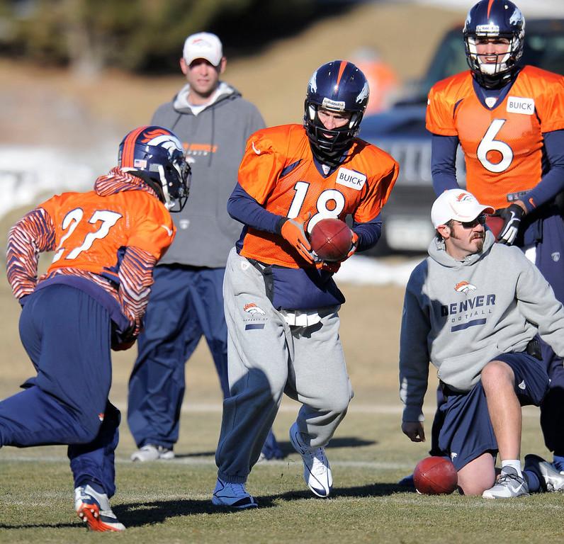 . Denver Broncos quarterback Peyton Manning (18) turns to hand off to Denver Broncos running back Knowshon Moreno (27) during practice Thursday, January 3, 2013 at Dove Valley.  John Leyba, The Denver Post