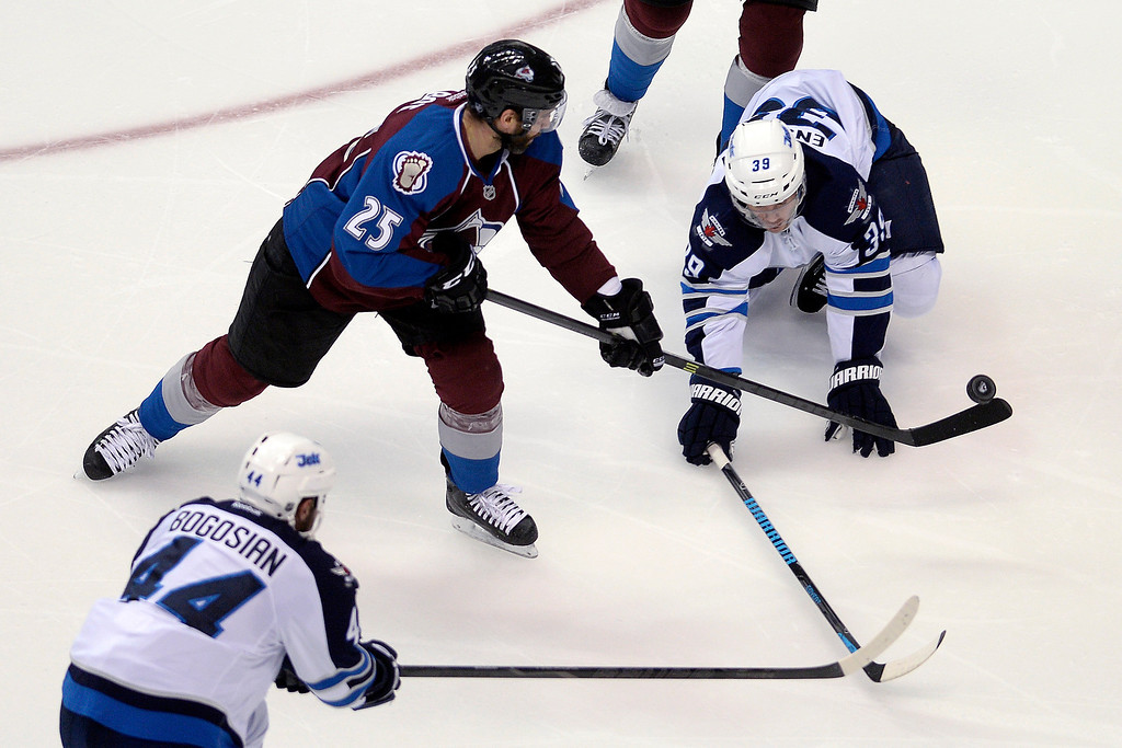 . Maxime Talbot (25) of the Colorado Avalanche works for a shot as Tobias Enstrom (39) of the Winnipeg Jets defends during the first period. (Photo by AAron Ontiveroz/The Denver Post)
