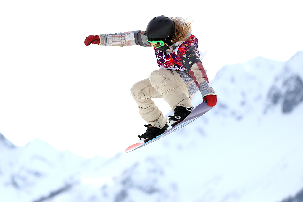 . SOCHI, RUSSIA - FEBRUARY 09:  Jamie Anderson of the United States competes in the Women\'s Snowboard Slopestyle Finals during day two of the Sochi 2014 Winter Olympics at Rosa Khutor Extreme Park on February 9, 2014 in Sochi, Russia.  (Photo by Paul Gilham/Getty Images)