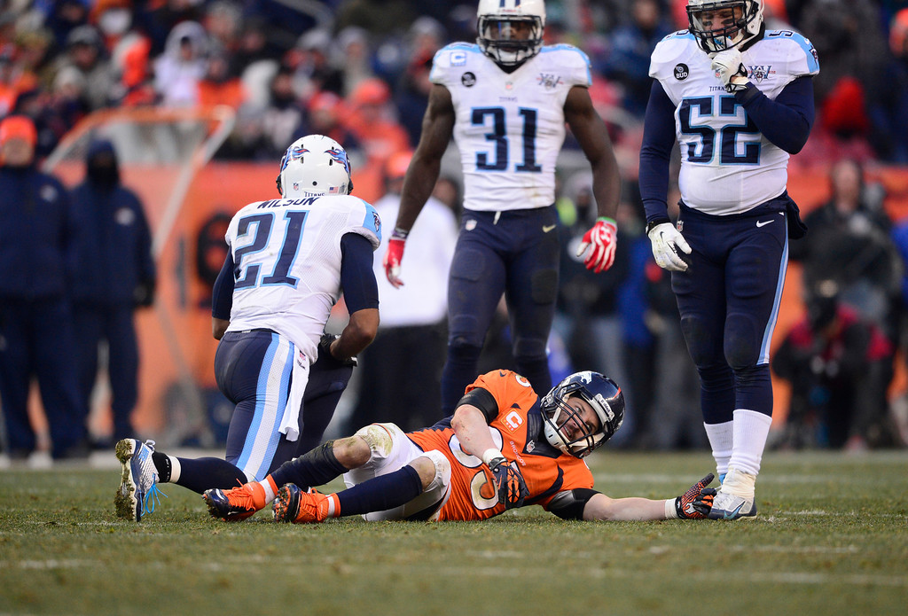 . DENVER, CO - DECEMBER 08: Denver Broncos wide receiver Wes Welker (83) after getting a concussion on a hard hit in the second quarter. The Denver Broncos take on the Tennessee Titans at Sports Authority Field at Mile High in Denver on December 8, 2013. (Photo by AAron Ontiveroz/The Denver Post)