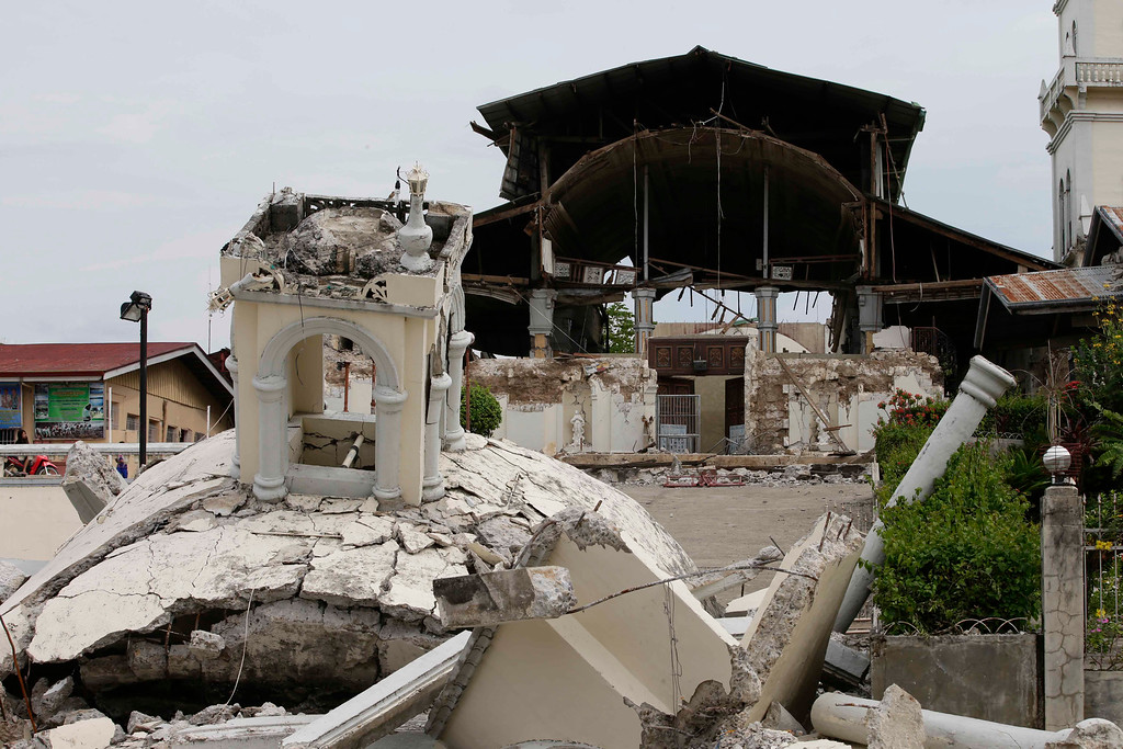 . The rubble at San Isidro de Labrador church which was caused by a 7.2-magnitude earthquake is seen at Tubigon  township, Bohol province in central Philippines Wednesday Oct. 16, 2013.  (AP Photo/Bullit Marquez)