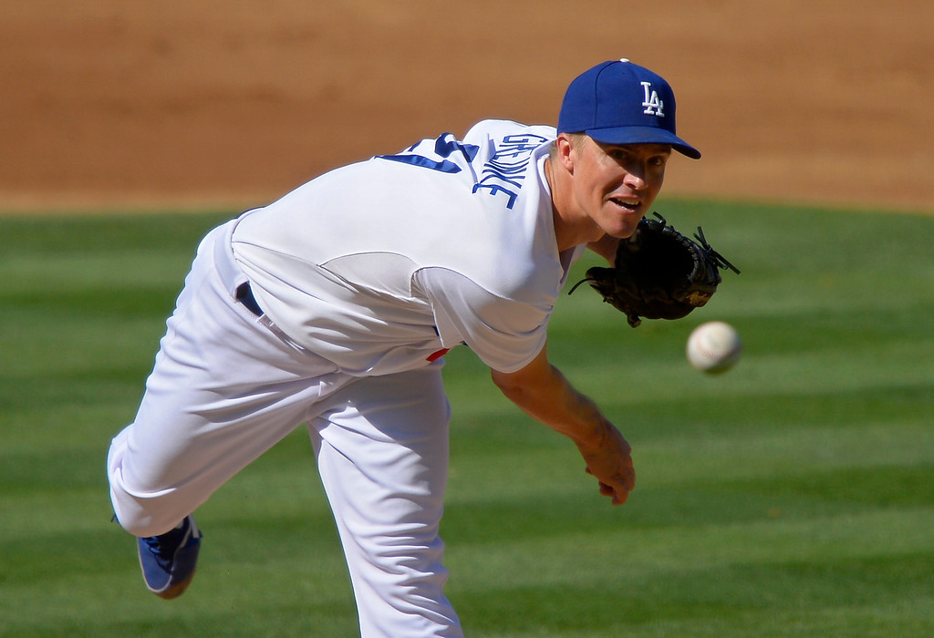 . Los Angeles Dodgers starting pitcher Zack Greinke throws to the plate during the second inning of a baseball game against the Colorado Rockies, Saturday, July 13, 2013 in Los Angeles.  (AP Photo/Mark J. Terrill)