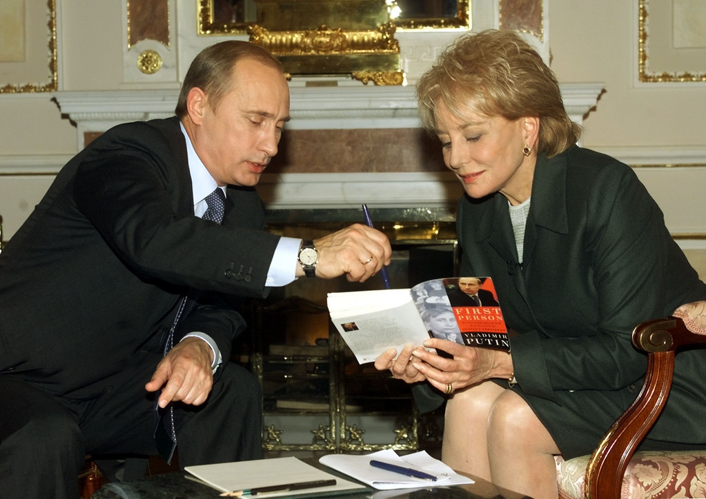 . ABC NEWS - 11/5/01 Moscow, Russia - In an exclusive interview, ABC News\' Barbara Walters interviews Russian President Vladimir Putin for 20/20, airing 11/7/2001, on the ABC Television Network. This marks the first time the President Putin will be interviewed by an American journalist since the terrorist attacks on the United States on September 11th.  The interview took place( 11/5/01) at the Kremlin.   (ABC NEWS)  VLADIMIR PUTIN, BARBARA WALTERS