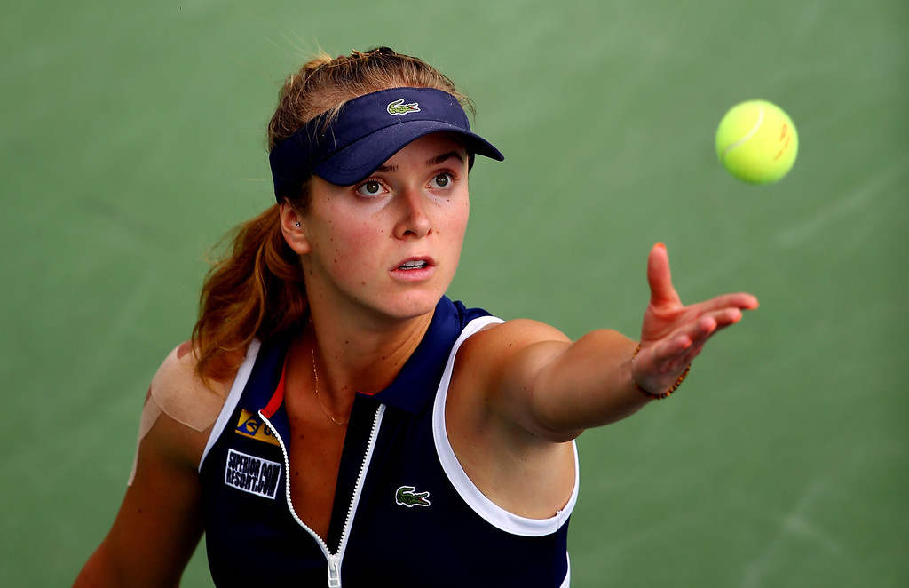 . NEW YORK, NY - AUGUST 29:  Elina Svitolina of Ukraine serves to Christina McHale of the United States during their second round women\'s singles match on Day Four of the 2013 US Open at USTA Billie Jean King National Tennis Center on August 29, 2013 in the Flushing neighborhood of the Queens borough of New York City.  (Photo by Elsa/Getty Images)