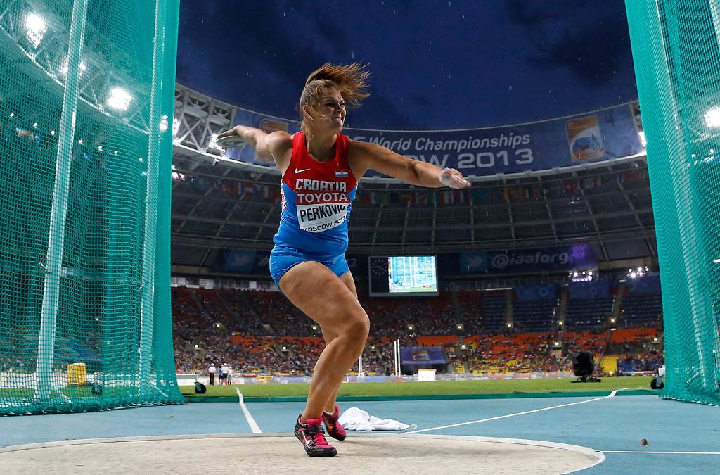 . Croatia\'s Sandra Perkovic competes in the women\'s discus throw final at the World Athletics Championships in the Luzhniki stadium in Moscow, Russia, Sunday, Aug. 11, 2013. (AP Photo/Matt Dunham)