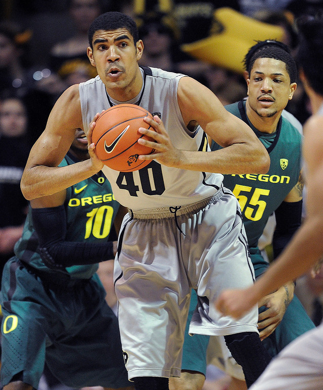 . BOULDER, CO. - MARCH 7: Colorado center Josh Scott (40) came down with a rebound in the first half. The University of Colorado men\'s basketball team hosted Oregon Thursday night, March 7, 2013 at the CU Events Center in Boulder. (Photo By Karl Gehring/The Denver Post)