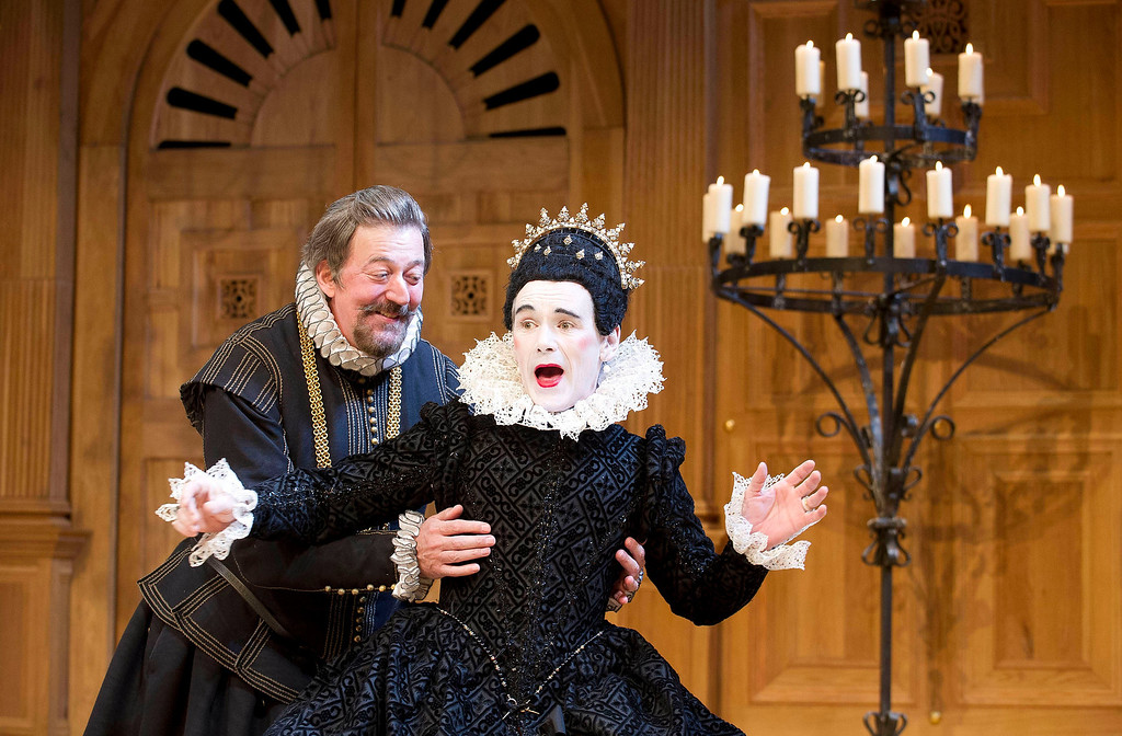 """. This undated theater image released by Boneau/Bryan-Brown shows Mark Rylance as Olivia, right, and Stephen Fry as Malvolio during a performance of William Shakespeare\'s \""""Twelfth Night.\"""" The first award of the night at the 68th annual Tony Awards was for best featured actor in a play and it went to Rylance, who won his third Tony for playing the countess Olivia in \""""Twelfth Night.\"""" Rylance, who previously won for \""""Jerusalem\"""" and \""""Boeing-Boeing,\"""" is also nominated for best lead actor honors for his evil title character in \""""Richard III.\"""" (AP Photo/Boneau/Bryan-Brown, Geraint Lewis, File)"""