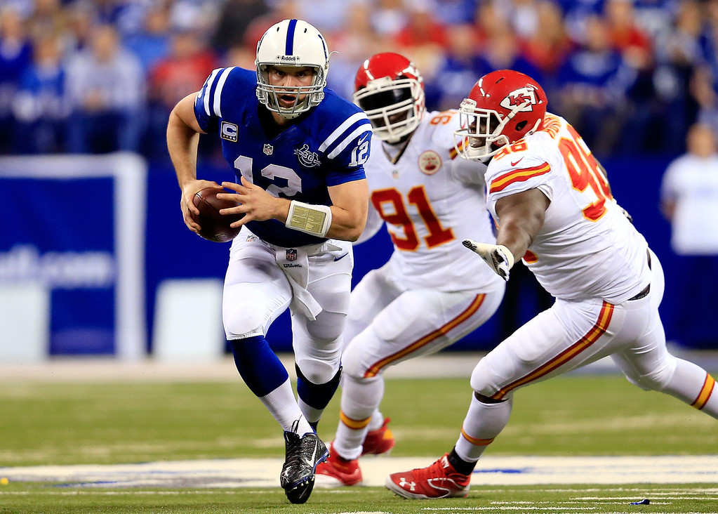 . INDIANAPOLIS, IN - JANUARY 04:  Quarterback Andrew Luck #12 of the Indianapolis Colts runs with the ball against the Kansas City Chiefs during a Wild Card Playoff game at Lucas Oil Stadium on January 4, 2014 in Indianapolis, Indiana.  (Photo by Rob Carr/Getty Images)