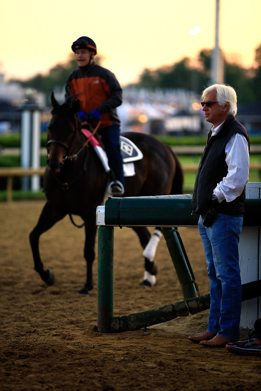 . Trainer Bob Baffert watches during early morning workouts ahead of the 140th Kentucky Derby at Churchill Downs on May 2, 2014 in Louisville, Kentucky.  (Photo by Jamie Squire/Getty Images)