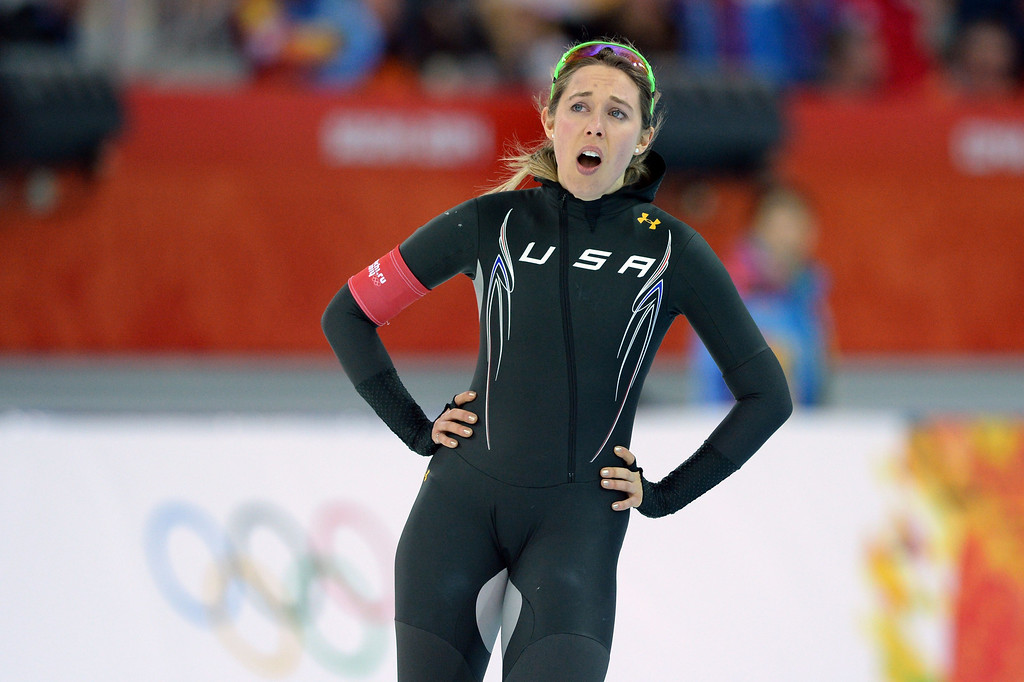 . US Anna Ringsred catches her breath after competing in the Women\'s Speed Skating 3000m at the Adler Arena during the Sochi Winter Olympics on February 9, 2014.    ANDREJ ISAKOVIC/AFP/Getty Images