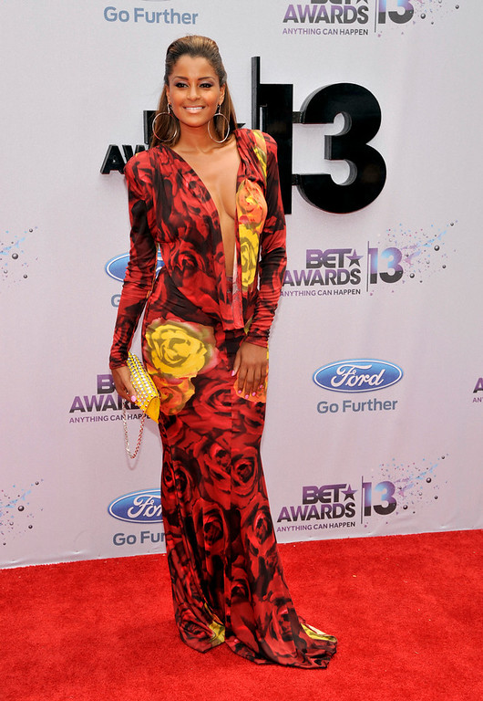. Claudia Jordan arrives at the BET Awards at the Nokia Theatre on Sunday, June 30, 2013, in Los Angeles. (Photo by Chris Pizzello/Invision/AP)