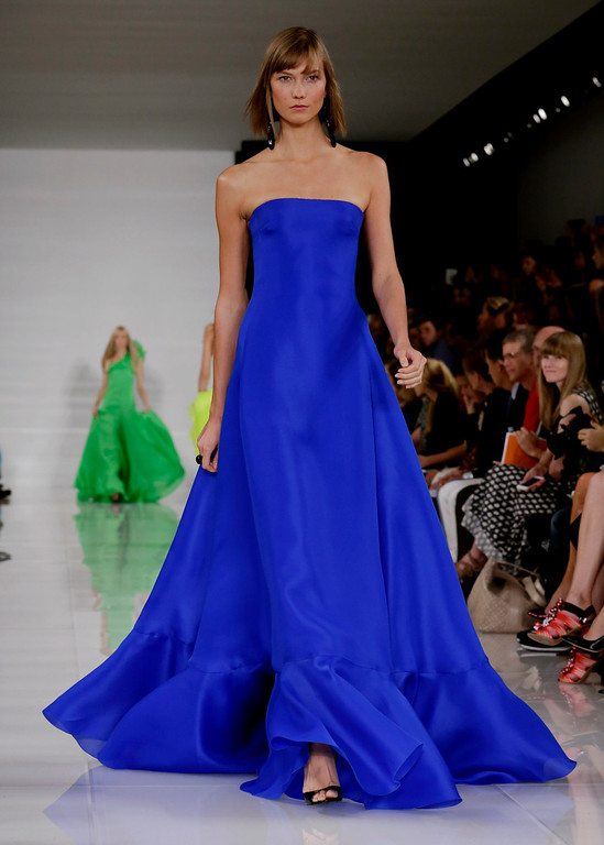 . Karlie Kloss models a design from the Ralph Lauren Spring 2014 collection during Fashion Week in New York, Thursday, Sept. 12, 2013. (AP Photo/Richard Drew)