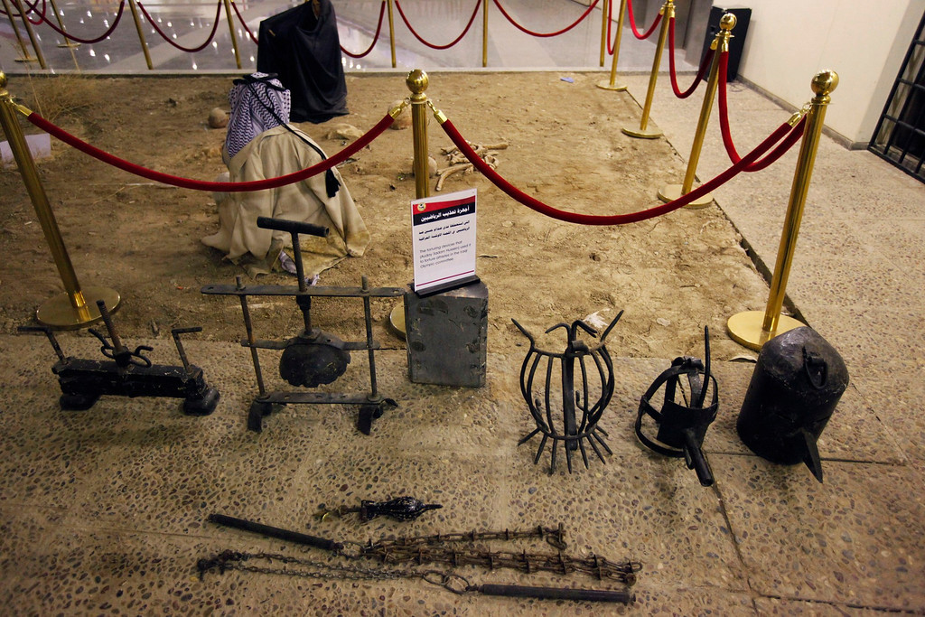 . A view of torture devices, that were used by the regime of Iraq\'s ousted leader Saddam Hussein, at an exhibition gallery at the Martyrs Monument in Baghdad May 24, 2013.  REUTERS/Thaier al-Sudani